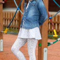Ciorapi fete 4-13 ani - MONA - Lenka01 alb - Sosete Copii