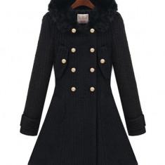 BL630-1 Palton elegant cu gluga imblanita - Palton dama, Marime: S