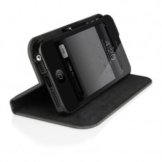 Husa iPhone 5/5S Macally Bookstand Negru - Husa Telefon Macally, iPhone 5/5S/SE
