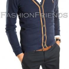 Cardigan Polo bleumarin - pulover barbati - pulover slim fit - cod 5013