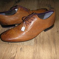 OFERTA! Pantofi oxford LUX TED BAKER ORIGINALI noi piele manusa camel Sz 42 ! - Pantofi barbati Ted Baker, Piele naturala