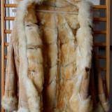 Cojoc din piele de caprioara imblanit - Palton barbati, M, Crem