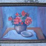Vaza cu flori rosii, natura statica, ulei pe carton, pictura - Pictor roman, Impresionism