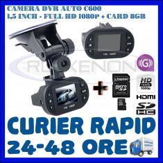 Camera video auto ZDM, 32GB, Wide, Single, Senzor imagine MP CMOS: 12, Full HD - CARD 8GB + CAMERA VIDEO DVR AUTO MARTOR ACCIDENT C600, FULL HD 1080p, SENZOR G