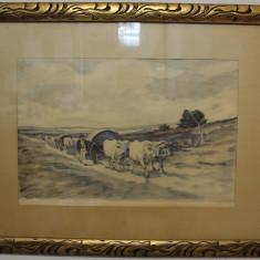 Gravura reproducere Nicolae Grigorescu, cu passe-partout; Tablou