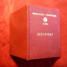 Legitimatie-Brevet pt.Insigna Evidentiat in Munca Medico-Sanitara 1981