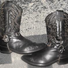 Cizme barbati - Ciocate/cizme din piele cowboy/western/rock model cu indian, marimea 44