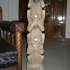 Sculptura, Animale, Piatra, America Latina - Cele trei maimute vintage unicat