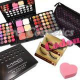 Trusa Machiaj Profesionala 78 culori MAC cu ruj, blush, pudra+ Buretel+ CADOURI - Trusa make up