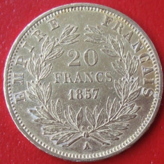 M. 20 francs / franci 1857 A Napoleon, aur, Europa, An: 1857