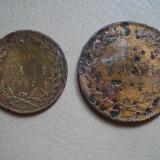 LOT 2 MONEDE ROMANIA 5 BANI SI 10 BANI 1867 - Moneda Romania