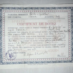 CERTIFICAT DE BOTEZ, COMUNA CRAIOVA, JUDETUL OLT, 1930 - Pasaport/Document