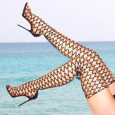 Sandale gladiator, peste genunchi, stil cizma - DSQUARED2 XENIA - PE STOC ! - Sandale dama Dsquared, Marime: 38, Culoare: Negru, Piele naturala