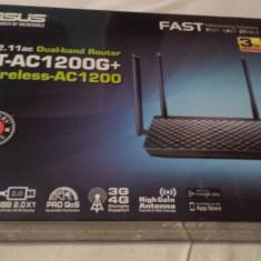 Router dual-band Asus RT-AC1200G+ Wireless-AC1200 nou, sigilat-poze reale, Port USB, Porturi LAN: 4, Porturi WAN: 1