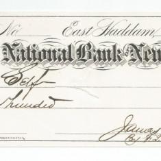 LL cec banca nationala New England 1877 cu timbru - Cambie si Cec