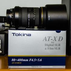 Tokina 80-400 f4.5-5.6 AT-X D Teleobiectiv Zoom dSLR Canon - Obiectiv DSLR Tokina, Super-tele, Autofocus, Canon - EF/EF-S