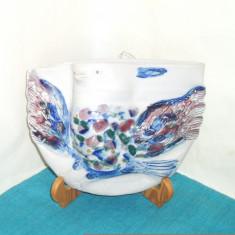 Vaza de perete relief, ceramica - Obiect de expozitie - semnata Amie Stalkrantz - Arta Ceramica