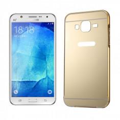 Bumper Samsung Galaxy J5 J500 Aluminiu + Capac Gold - Husa Telefon Samsung, Auriu, Metal / Aluminiu, Fara snur, Carcasa