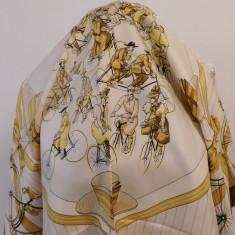 HERMES -LES BECANES -ESARFA VINTAGE SUPERBA MATASE NATURALA, ORIGINALA - Batic Dama Hermes, Culoare: Din imagine