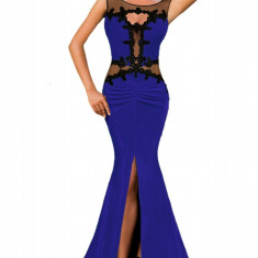 R453-4 Rochie eleganta de seara, decorata cu plasa si broderie - Rochie de seara, Marime: M/L