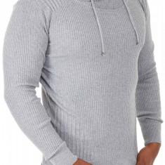 Pulover Tricotat Barbati Carisma Gri deschis 7076 - Pulover barbati Carisma, Marime: L, Culoare: Din imagine
