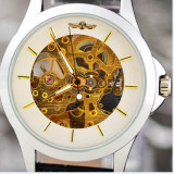 CEAS CASUAL WINNER MECANIC SKELETON FULL AUTOMATIC LIMITED WHITE, BLACK EDITION - Ceas barbatesc, Lux - sport, Mecanic-Automatic, Inox, Piele, Analog