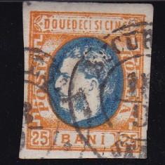 ROMANIA 1869, LP 28, CAROL I CU FAVORITI VAL 25 B PORTOCALIU SI ALBASTRU STAMP - Timbre Romania, Stampilat