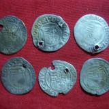 Lot 6 monede medievale Ungaria -Denari argint 1550, 52, 57, 60, 64, 77, gaurite - Moneda Medievala, Europa