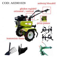 Gardelina Motocultor A02001028, 7 CP, freze, roti, plug LY reversibil, rarita reglabila, plug cartofi, cupla, 700-1000 mm
