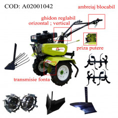 Gardelina Motocultor A02001042, 7 CP, freze, roti cauciuc, roti metalice, plug BG, rarita reglabila, plug cartofi, cupla, 700-1000 mm