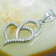 Lantisor aur - Pandantiv model Inima cu Zirconiu, din Argint 925, cod 272
