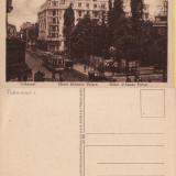 Bucuresti - Athenee Palace. Tramvai. Animatie - Carte Postala Muntenia 1904-1918, Necirculata, Printata