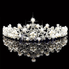 Diadema coronita tiara mireasa cu perle flori cristale tip Swarovski