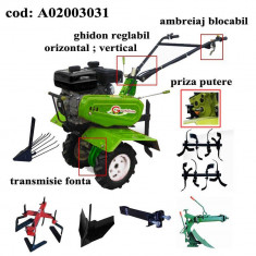 Gardelina Motocultor A02003031, 7 CP, freze, roti, plug LY reversibil, rarita reglabila, prasitoare hoby, plug cartofi, cupla, 1000 mm