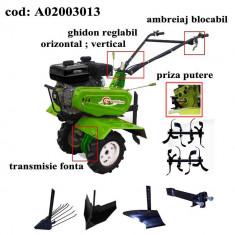 Gardelina Motocultor A02003013, 7 CP, freze, roti, plug BG, rarita reglabila, plug cartofi, cupla, 1000 mm