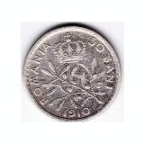 8.Romania, 50 BANI 1910, argint, muchia rotunjita, monetaria Hamburg - Moneda Romania