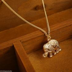 Superb lant / colier suflat cu aur de 9K cu pandantiv elefant - Colier placate cu aur