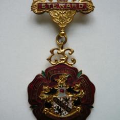Medalie masonica 1960, RMIB, bronz aurit emailat, cutia originala
