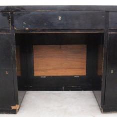 Mobilier - Birou de centru din lemn masiv; Masa de lucru cu 7 sertare si 2 usi.