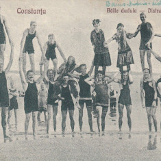CONSTANTA, BAILE DUDUIA - DISTRACTIE PE PLAJA - Carte Postala Dobrogea dupa 1918, Circulata, Printata
