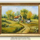 Tablou, An: 2016, Peisaje, Ulei, Altul - Viata la tara (3) - pictura peisaj rural, ulei pe panza cu rama, 47x37cm