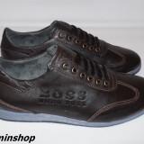 Pantofi barbati Hugo Boss, Piele naturala - Pantofi HUGO BOSS 100% Piele Naturala - Maro / Negru - Noua Colectie 2016 !!!