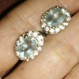 Incredibil cercei argint 925 placati aur alb cu aquamarine /acvamarin naturale