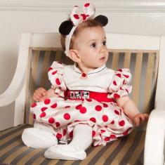 Botez - Rochita de ocazie pentru copii Minnie (Culoare: rosu, Imbracaminte pentru varsta: 9 luni - 74 cm, Model: buline)