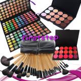 Trusa machiaj MAC farduri 180 culori + 24 pensule make up + fond de ten + ruj