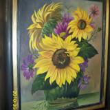 Tablou superb floarea soarelui ulei pe carton