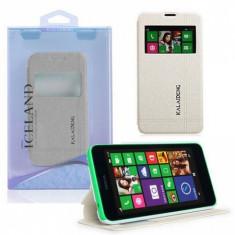 Husa Telefon - Husa Nokia Lumia 630 Flip Carte Iceland Series Alba / White