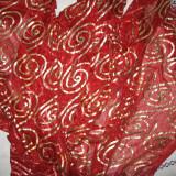 Esarfa lunga grena/ auriu, eleganta - Esarfa, Sal Dama, Culoare: Din imagine, Marime: Marime universala, Poliester