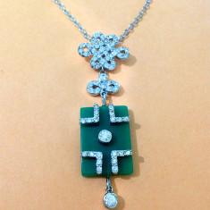 Colier verde -Lantisor si pandantiv INOXIDABIL-Placat cu aur alb si Swarovski - Colier Swarovski