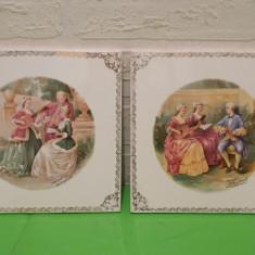 Doua PLACI FAIANTA cu scene de epoca FRAGONARD M. Langbroek AMSTERDAM Olanda - Arta Ceramica